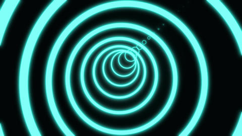 Neon circle tunnel abstract motion background. circle composed of vivid orange Footage
