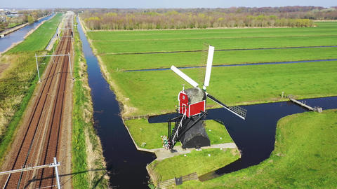 Aerial view of traditional Dutch windmill, Netherlands, Holland Footage
