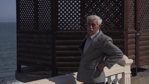 Old man with grey hair and mustache in suit stands outside next to wooden arbor Live Action