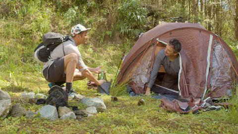 Angry Backpacker Man With Drunk Man Camping In Ecuador Live Action