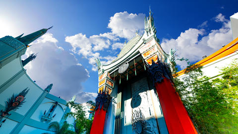 Clouds passing over world famous TCL Chinese Theater in time lapse effect Live Action