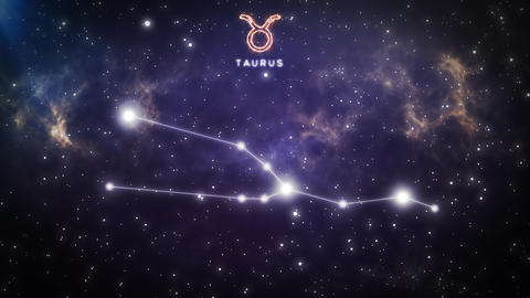Zodiac constellation of TAURUS 4k Animation