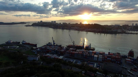 Aerial view of the cityscape overlooking the Bay and sunset Footage