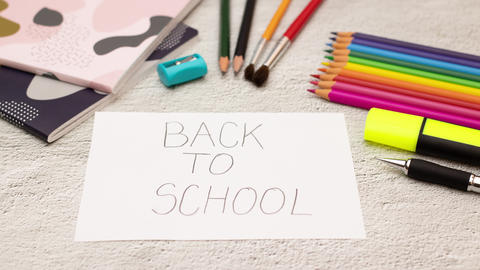 Stop motion animation of school supplies moving and disappearing - Back to school Animation