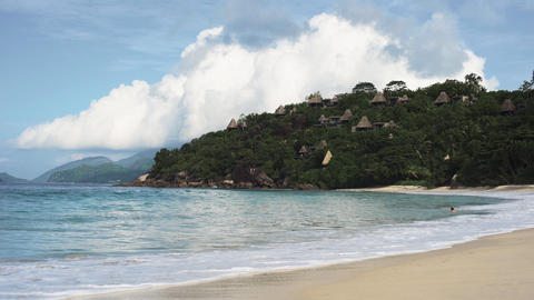Seychelles beach with blue ocean view Footage
