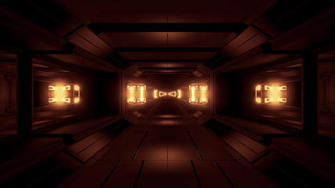futuristic glowing scifi space tunnel corridor 3d illustration background Animation