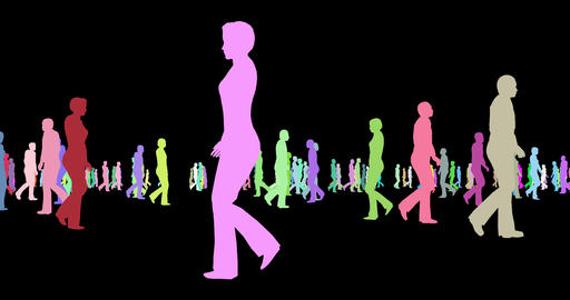 People multicolor silhouettes walking 3d footage Live Action
