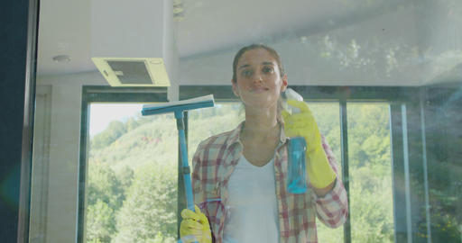 Girl removing cleaning solution from glass with special tool, cleaning service Live Action