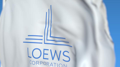 Flying flag with Loews Corporation logo, close-up. Editorial loopable 3D Live Action