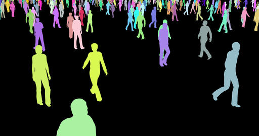 Group of people multicolor silhouettes walking 3d footage Footage