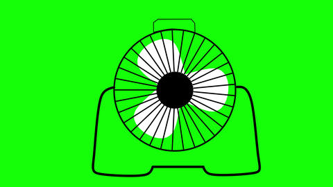 Desk fan animation on green background, seamless loop background Animation