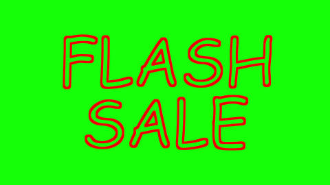 Flash sale sketchy animation on green background. Seasonal sales promotion Animation