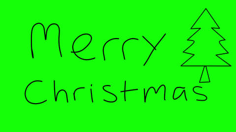 """Hand written and animated """"Merry Christmas"""" text on Green background Animation"""