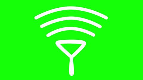 Flat signal icon animated on green background Animation