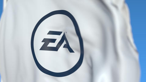 Flying flag with Electronic Arts logo, close-up. Editorial loopable 3D animation Footage