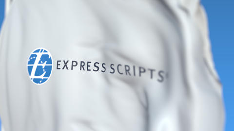 Flying flag with Express Scripts logo, close-up. Editorial loopable 3D animation Live-Action