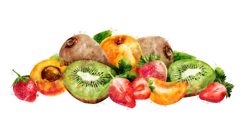 Watercolor animation of the apricot, strawberry and kiwi on the alpha channel CG動画
