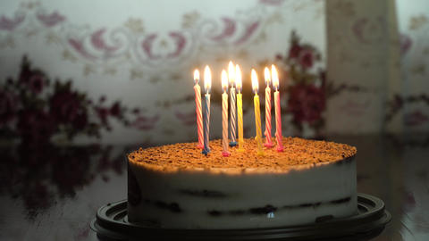 Birthday cake with candles Footage