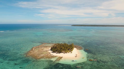 Beautiful tropical island with beach. Guyam island, Philippines Live Action