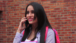 Excited Teen Female Student Talking On Phone Footage
