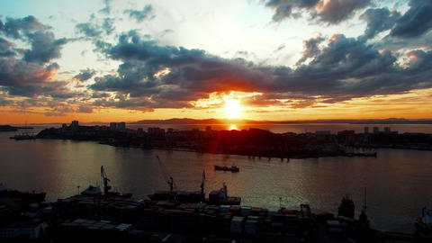 Vladivostok, Russia. Aerial view of the cityscape overlooking the Bay and sunset Footage