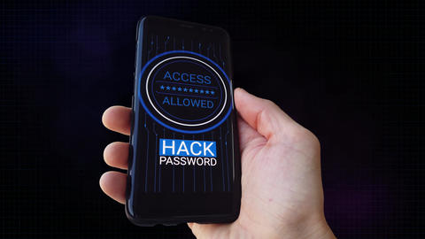 Password guessing. Hacking access. Phone hacker. Alpha Matte. Wellcome Animation
