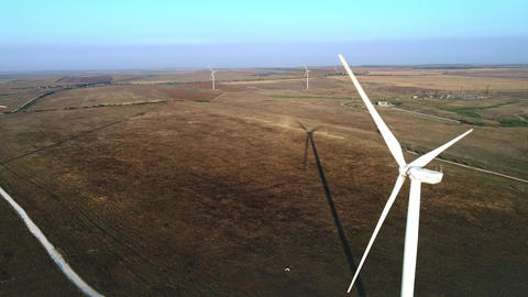 Wind turbine. Renewable energy, sustainable development, environment friendly Footage