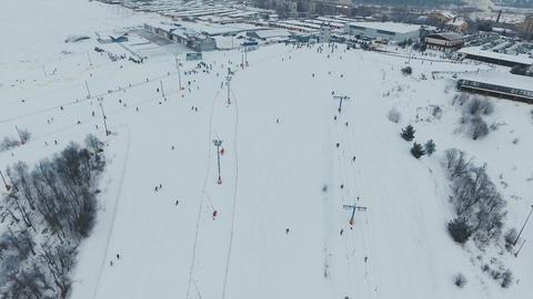 Ski resort in the winter season. Aerial view Footage
