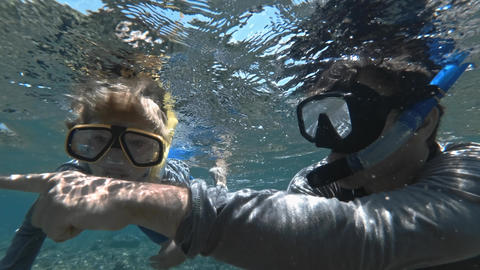 Snorkeling child diving with father in clear blue ocean water with fishes Footage