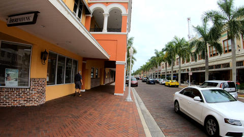Fort Myers, USA - February 25, 2019: Paved street in Ft Myers historic district Footage