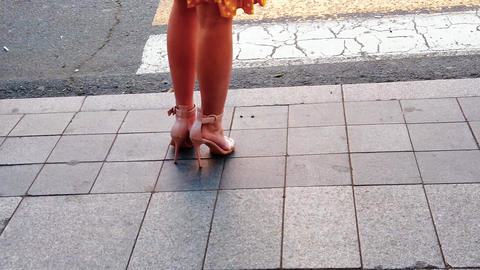 Slender female legs in elegant shoes at the pedestrian crossing. City life Live Action