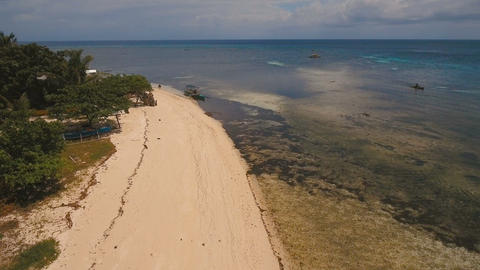 Aerial view beautiful beach on tropical island. Mantigue island Philippines Footage