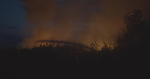 Burning grass on field at the night. Firefighters fighting a fire with a hose Live Action