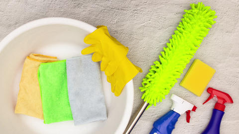 Stop motion animation of cleaning stuff and products from the table Animation