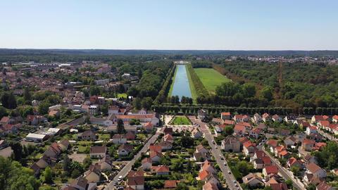 Aerial view of La Butte Montceau, France Live Action