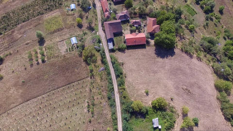 Aerial drone footage of small village in Serbia and countryside with beautiful nature Live Action