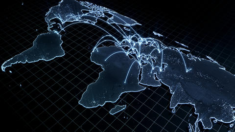 Growing global network across the world map. Internet and business concept. Connecting people all Animation