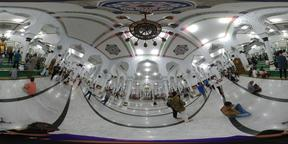 Preople praying inside Baiturrahman Grand Mosque Banda Aceh Indonesia VR 360° Photo