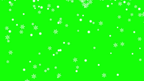 Snow flakes animated on green background Animation