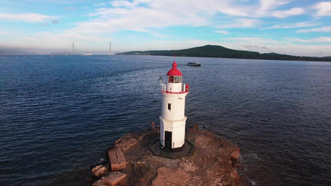 Aerial photo of marine landscape with views of the landmark lighthouse Tokarevskiy Live Action