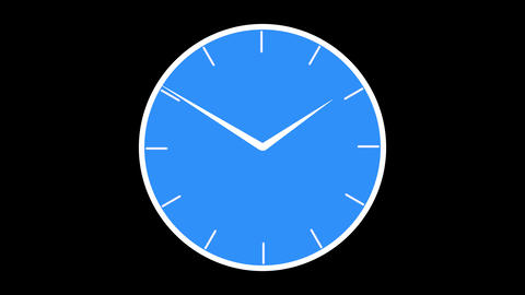 Flat style fast moving blue Wall clock Animated 24 hours on alpha matte background Animation