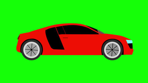 Red sport car flat style animation on green screen background. 4k Animation