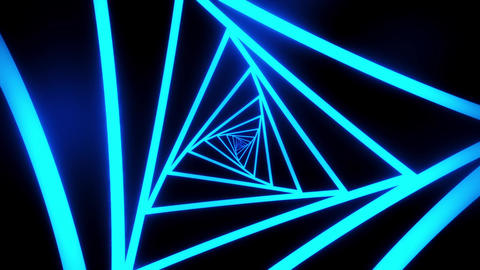 Blue Triangles Tunnel VJ Loop Motion Graphic Background Animation