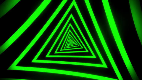 Green Triangles Tunnel VJ Loop Motion Graphic Background Animation