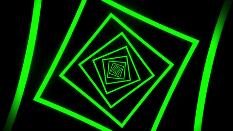 Green Squares Tunnel VJ Loop Motion Graphic Background Animation