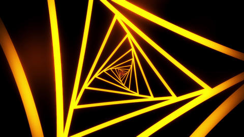 Orange Triangles Tunnel VJ Loop Motion Graphic Background Animation