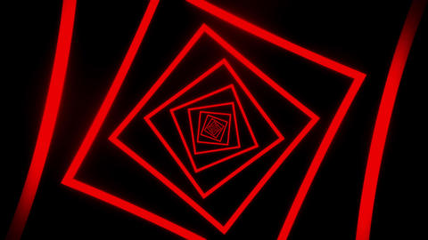 Red Squares Tunnel VJ Loop Motion Graphic Background Animation