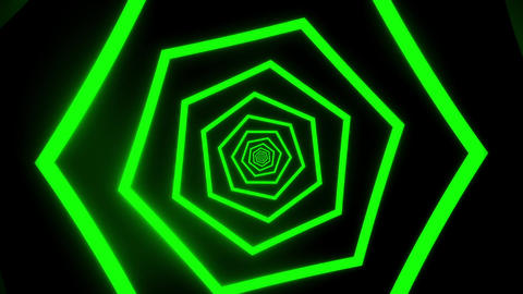 Green Hexagons Tunnel VJ Loop Motion Graphic Background Animation