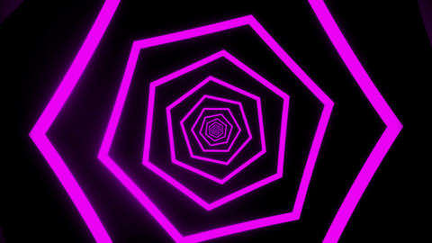 Purple Hexagons Tunnel VJ Loop Motion Graphic Background Animation
