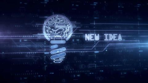 Bulb new idea symbol hologram Animation